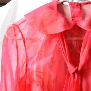 VINTAGE 1950s Sheer Red Blouse